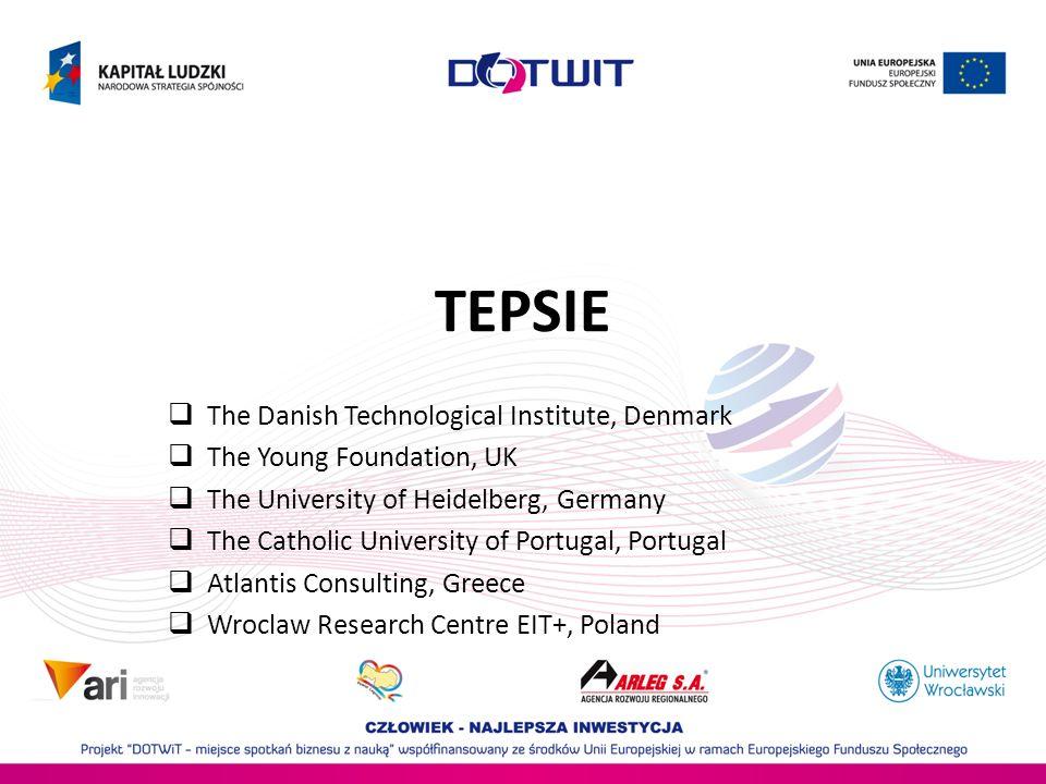 The Theoretical, Empirical and Policy Foundations for Building Social Innovation in Europe (TEPSIE) Cel: opracowanie metod, polityk i instrumentów wykorzystanych przy opracowaniu strategii zorientowanych na rozwój innowacji społecznych w Europie