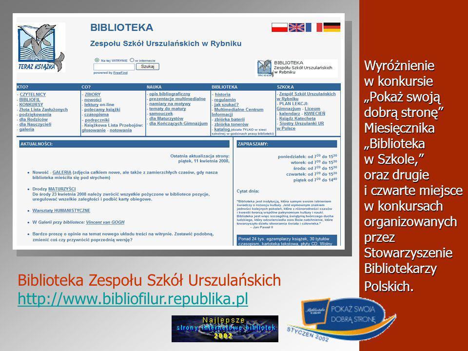 Wyróżnienie w konkursie Pokaż swoją dobrą stronę Miesięcznika Biblioteka w Szkole, oraz drugie i czwarte miejsce w konkursach organizowanych przez Stowarzyszenie Bibliotekarzy Polskich.