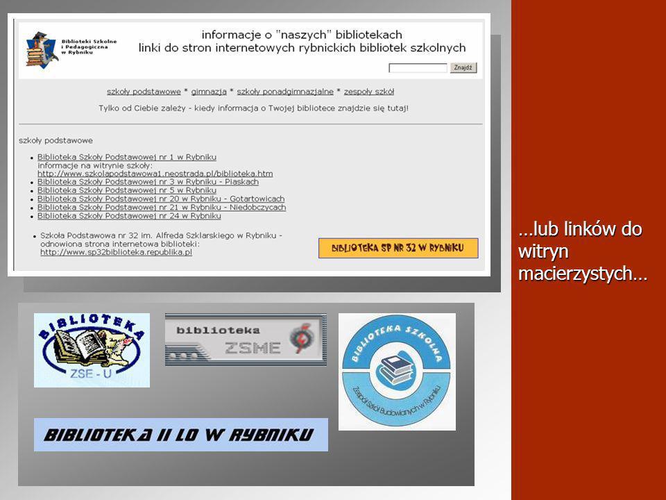 …zwłaszcza, że nasze środowisko może się szczycić szeregiem wyróżniających się witryn internetowych bibliotek szkolnych: Biblioteka Zespołu Szkół Technicznych http://www.zstrybnik.pl/biblioteka/ http://www.zstrybnik.pl/biblioteka/