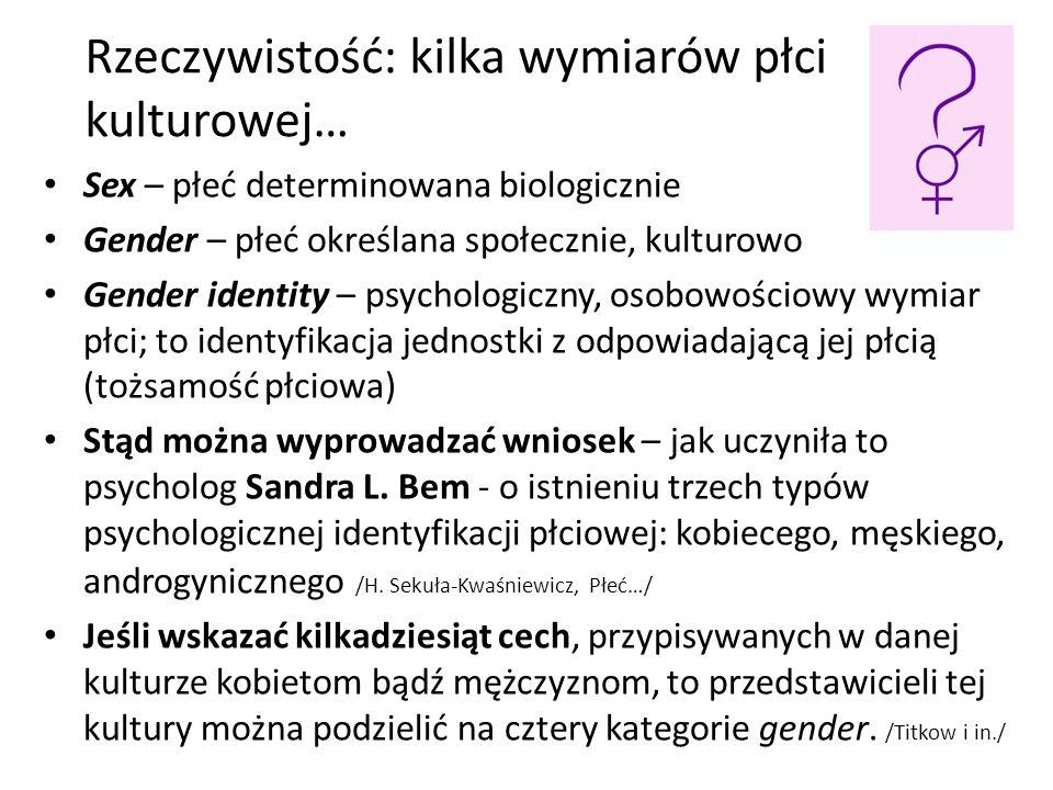 Rzeczywistość: kilka wymiarów płci kulturowej… Sex – płeć determinowana biologicznie Gender – płeć określana społecznie, kulturowo Gender identity – p