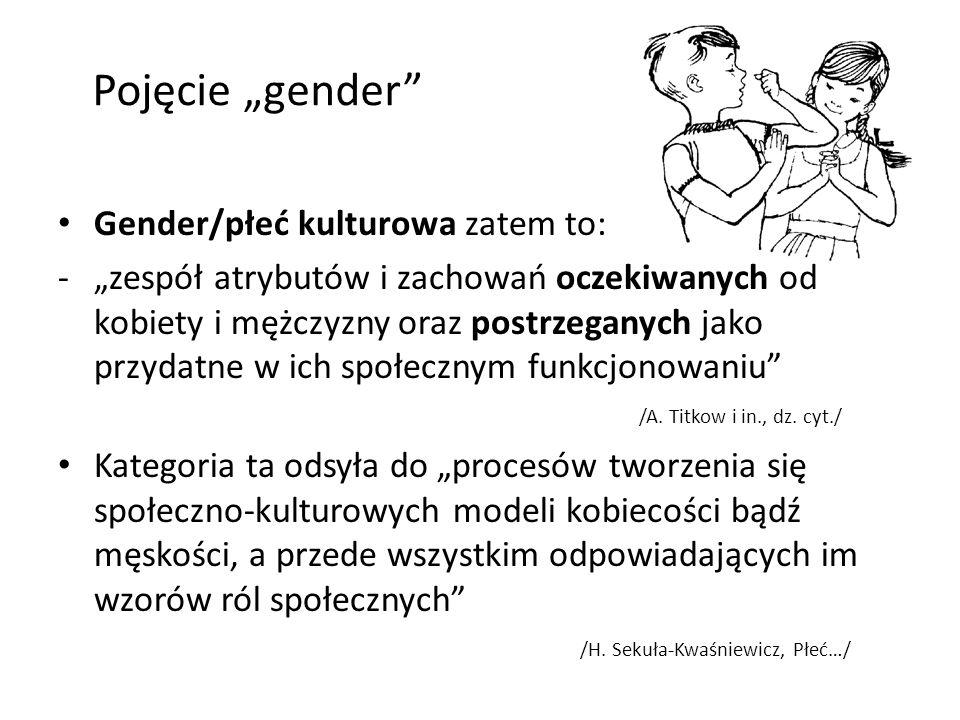 Pojęcie gender Gender/płeć kulturowa zatem to: -zespół atrybutów i zachowań oczekiwanych od kobiety i mężczyzny oraz postrzeganych jako przydatne w ic