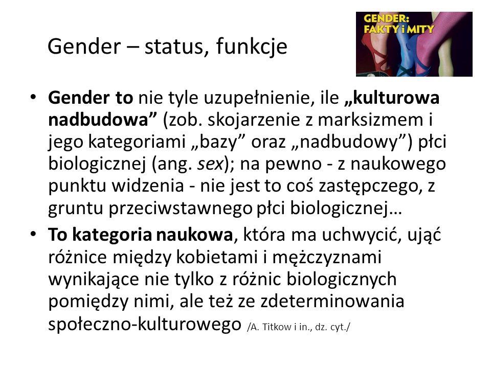 Gender – status, funkcje Gender to nie tyle uzupełnienie, ile kulturowa nadbudowa (zob. skojarzenie z marksizmem i jego kategoriami bazy oraz nadbudow