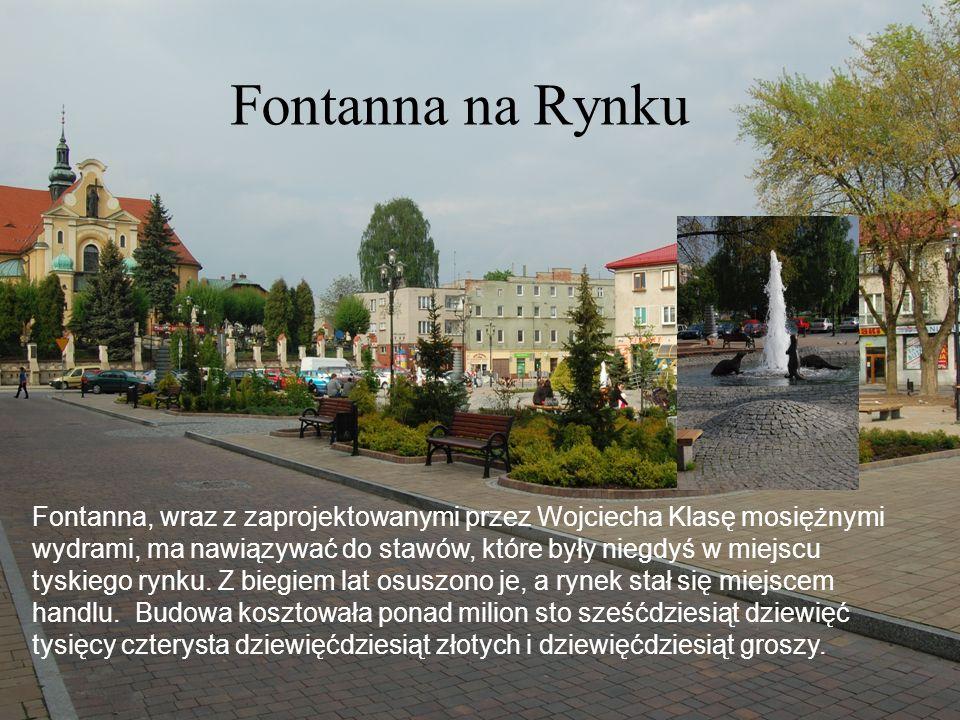 Fontanna na Rynku Fontanna, wraz z zaprojektowanymi przez Wojciecha Klasę mosiężnymi wydrami, ma nawiązywać do stawów, które były niegdyś w miejscu tyskiego rynku.