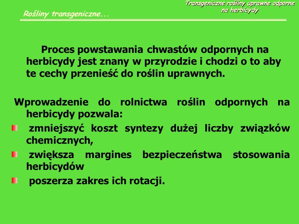 Proces powstawania chwastów odpornych na herbicydy jest znany w przyrodzie i chodzi o to aby te cechy przenieść do roślin uprawnych.
