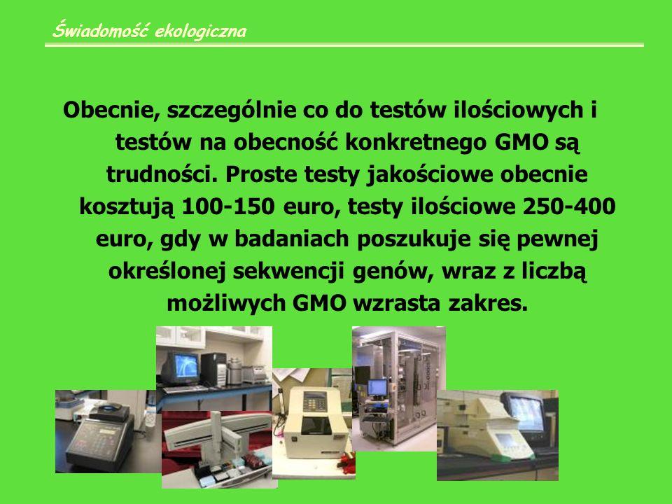 Obecnie, szczególnie co do testów ilościowych i testów na obecność konkretnego GMO są trudności.