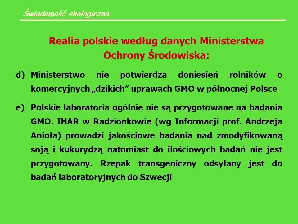Świadomość ekologiczna Realia polskie według danych Ministerstwa Ochrony Środowiska: d)Ministerstwo nie potwierdza doniesień rolników o komercyjnych dzikich uprawach GMO w północnej Polsce e)Polskie laboratoria ogólnie nie są przygotowane na badania GMO.