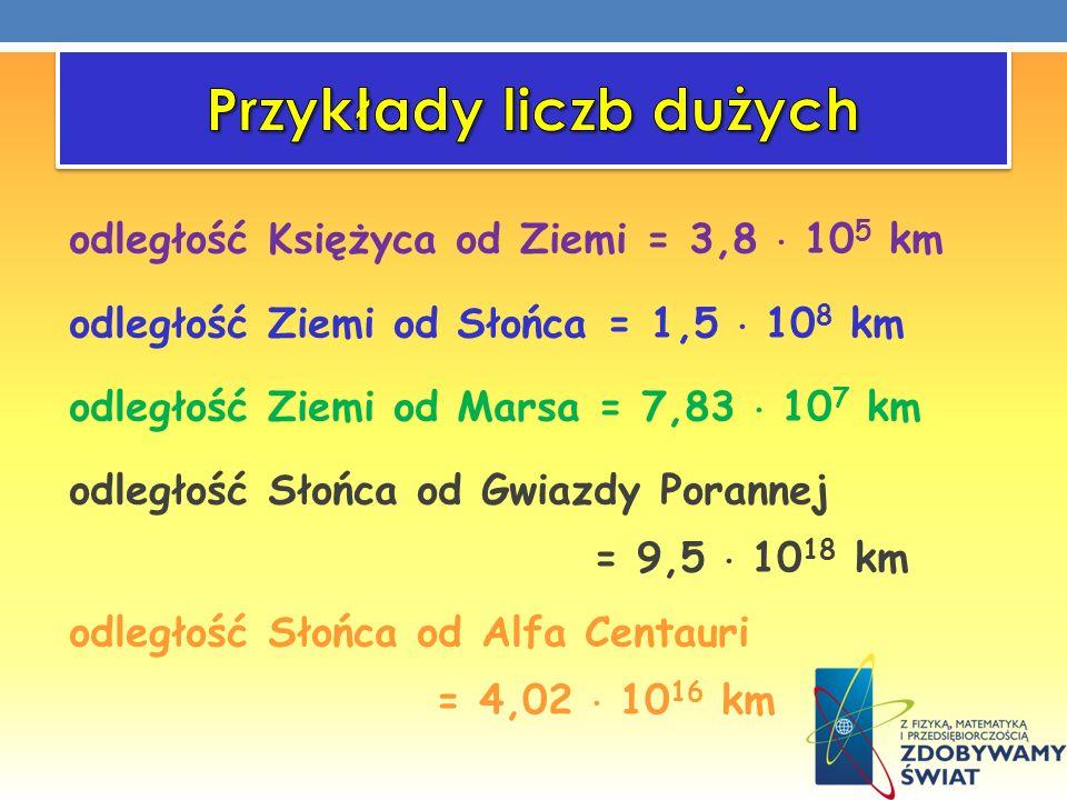 odległość Księżyca od Ziemi = 3,8 10 5 km odległość Ziemi od Słońca = 1,5 10 8 km odległość Ziemi od Marsa = 7,83 10 7 km odległość Słońca od Gwiazdy