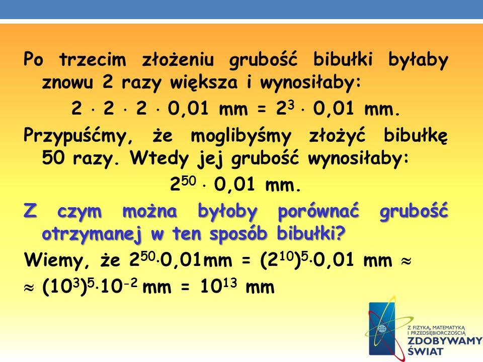 Po trzecim złożeniu grubość bibułki byłaby znowu 2 razy większa i wynosiłaby: 2 2 2 0,01 mm = 2 3 0,01 mm. Przypuśćmy, że moglibyśmy złożyć bibułkę 50