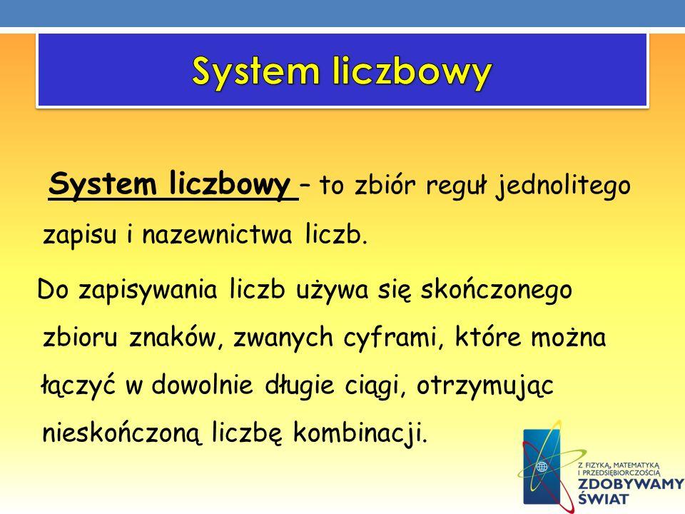 System liczbowy – to zbiór reguł jednolitego zapisu i nazewnictwa liczb. Do zapisywania liczb używa się skończonego zbioru znaków, zwanych cyframi, kt