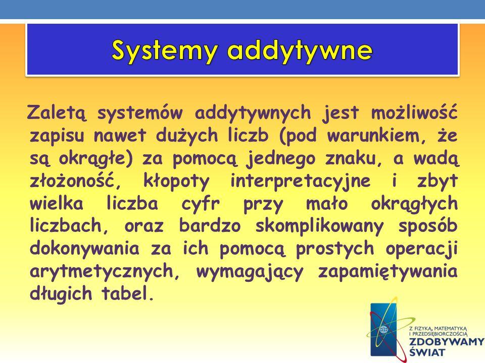 Zaletą systemów addytywnych jest możliwość zapisu nawet dużych liczb (pod warunkiem, że są okrągłe) za pomocą jednego znaku, a wadą złożoność, kłopoty