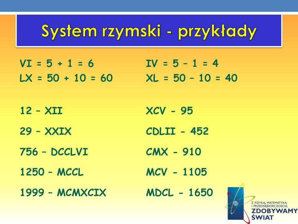 VI = 5 + 1 = 6IV = 5 – 1 = 4 LX = 50 + 10 = 60XL = 50 – 10 = 40 12 – XIIXCV - 95 29 – XXIXCDLII - 452 756 – DCCLVICMX - 910 1250 – MCCLMCV - 1105 1999