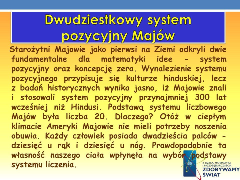 Starożytni Majowie jako pierwsi na Ziemi odkryli dwie fundamentalne dla matematyki idee - system pozycyjny oraz koncepcję zera. Wynalezienie systemu p
