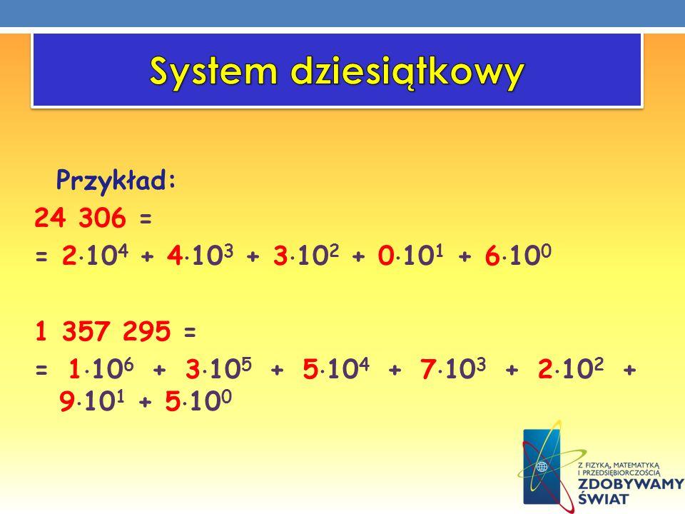 Przykład: 24 306 = = 2 10 4 + 4 10 3 + 3 10 2 + 0 10 1 + 6 10 0 1 357 295 = = 1 10 6 + 3 10 5 + 5 10 4 + 7 10 3 + 2 10 2 + 9 10 1 + 5 10 0