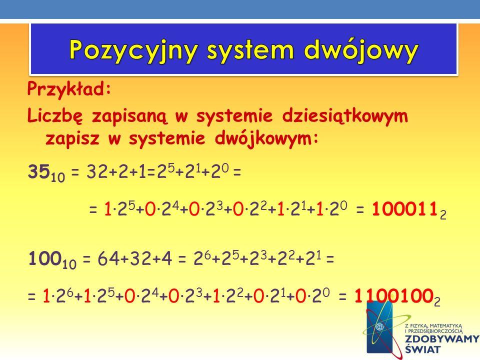 Przykład: Liczbę zapisaną w systemie dziesiątkowym zapisz w systemie dwójkowym: 35 10 = 32+2+1=2 5 +2 1 +2 0 = = 12 5 +02 4 +02 3 +02 2 +12 1 +12 0 =