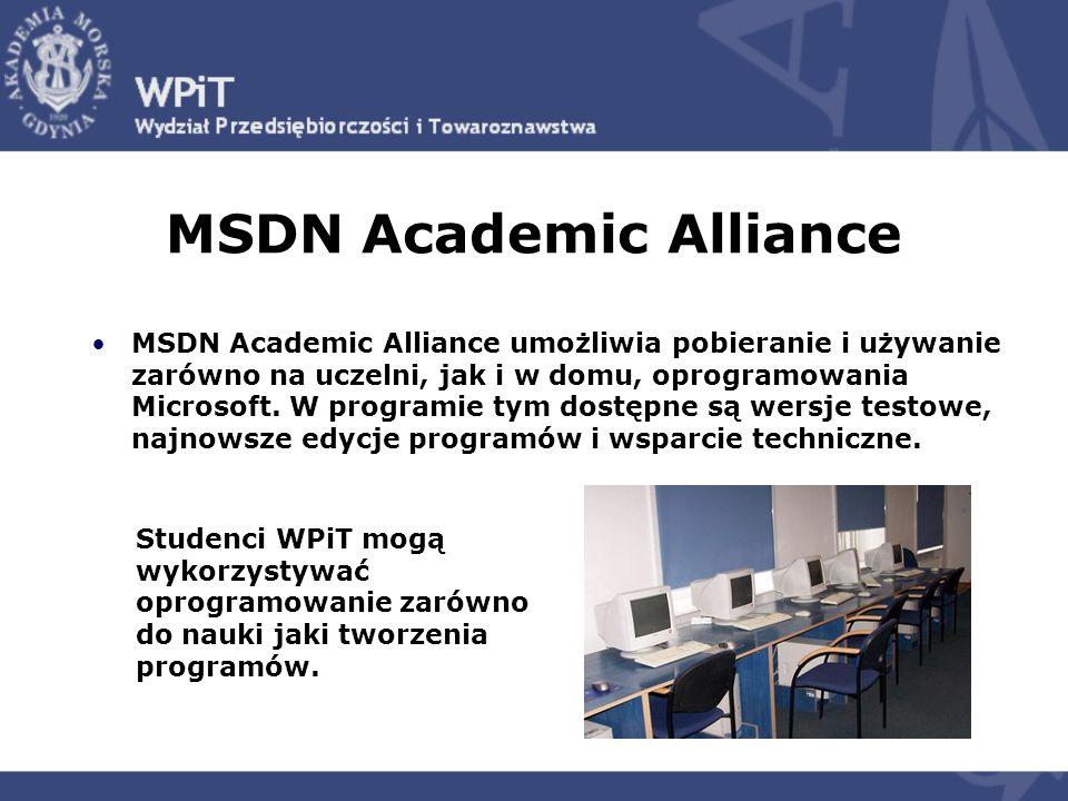 MSDN Academic Alliance MSDN Academic Alliance umożliwia pobieranie i używanie zarówno na uczelni, jak i w domu, oprogramowania Microsoft.