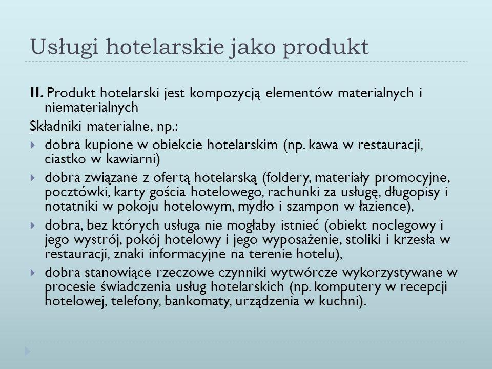 Usługi hotelarskie jako produkt II. Produkt hotelarski jest kompozycją elementów materialnych i niematerialnych Składniki materialne, np.: dobra kupio