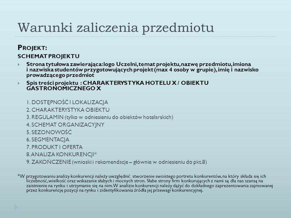 Warunki zaliczenia przedmiotu P ROJEKT : SCHEMAT PROJEKTU Strona tytułowa zawierająca: logo Uczelni, temat projektu, nazwę przedmiotu, imiona i nazwis