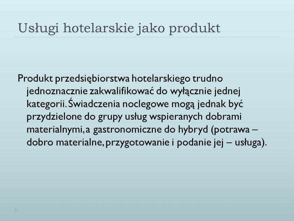 Usługi hotelarskie jako produkt Produkt przedsiębiorstwa hotelarskiego trudno jednoznacznie zakwalifikować do wyłącznie jednej kategorii. Świadczenia