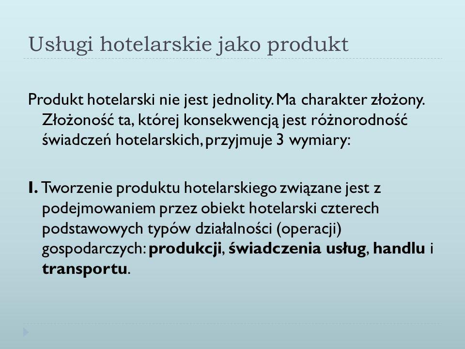 Usługi hotelarskie jako produkt Produkt hotelarski nie jest jednolity. Ma charakter złożony. Złożoność ta, której konsekwencją jest różnorodność świad