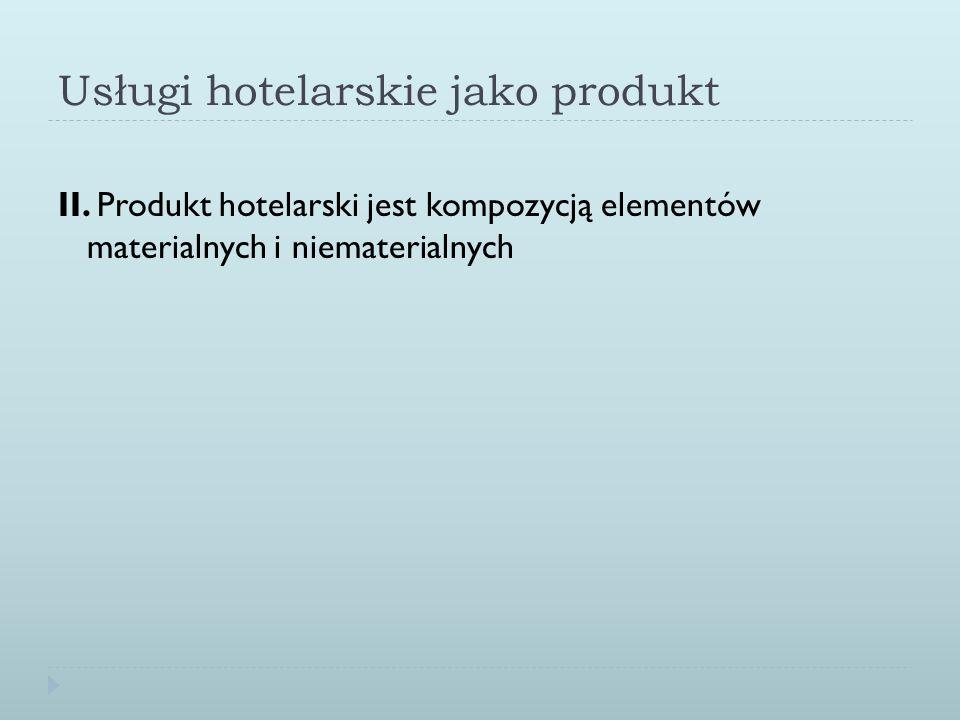 Usługi hotelarskie jako produkt II. Produkt hotelarski jest kompozycją elementów materialnych i niematerialnych
