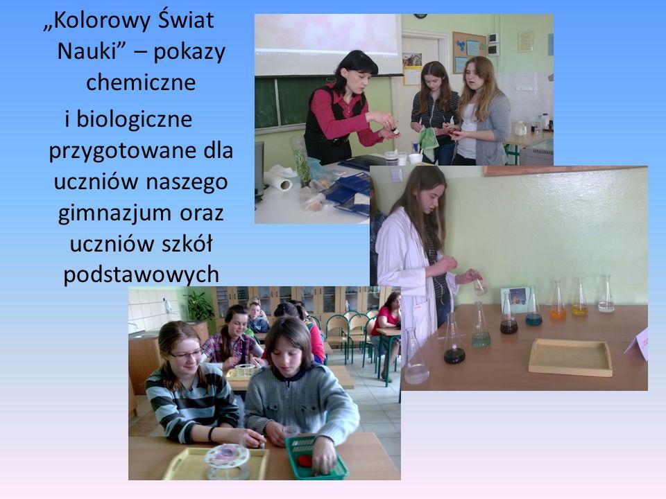 Kolorowy Świat Nauki – pokazy chemiczne i biologiczne przygotowane dla uczniów naszego gimnazjum oraz uczniów szkół podstawowych