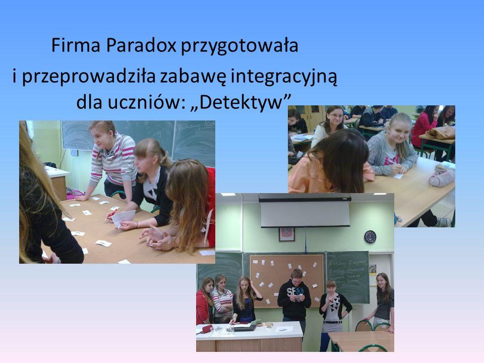 Firma Paradox przygotowała i przeprowadziła zabawę integracyjną dla uczniów: Detektyw