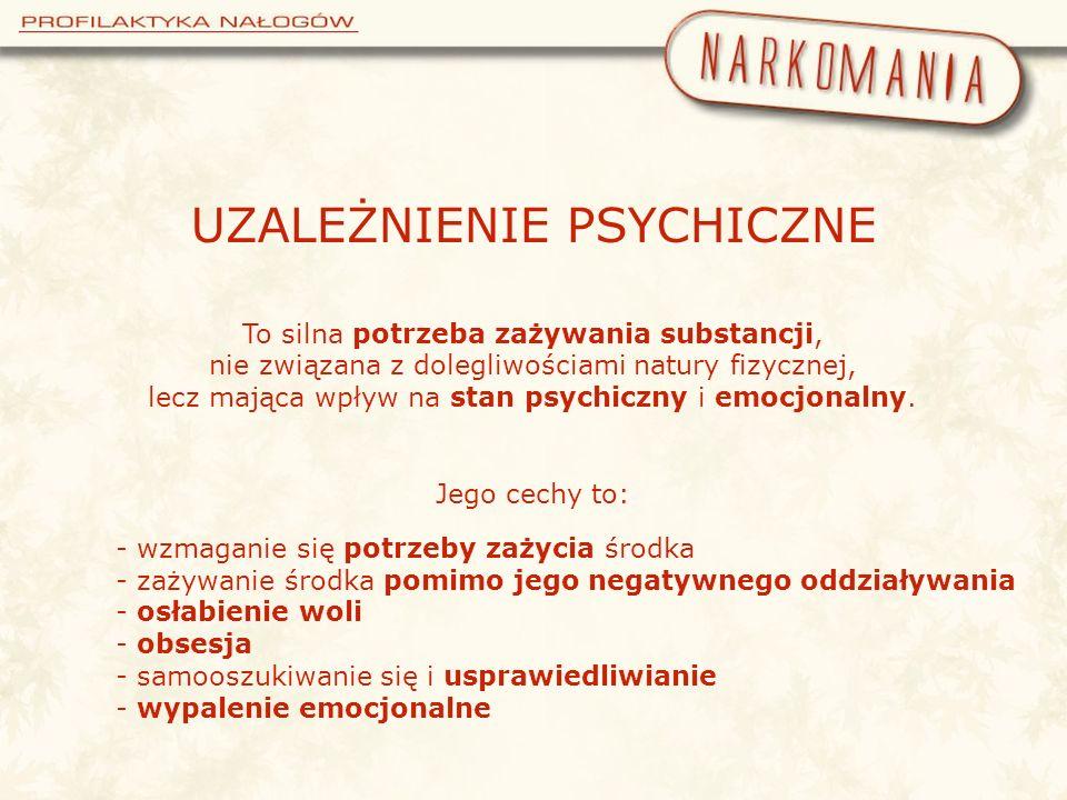 UZALEŻNIENIE PSYCHICZNE To silna potrzeba zażywania substancji, nie związana z dolegliwościami natury fizycznej, lecz mająca wpływ na stan psychiczny