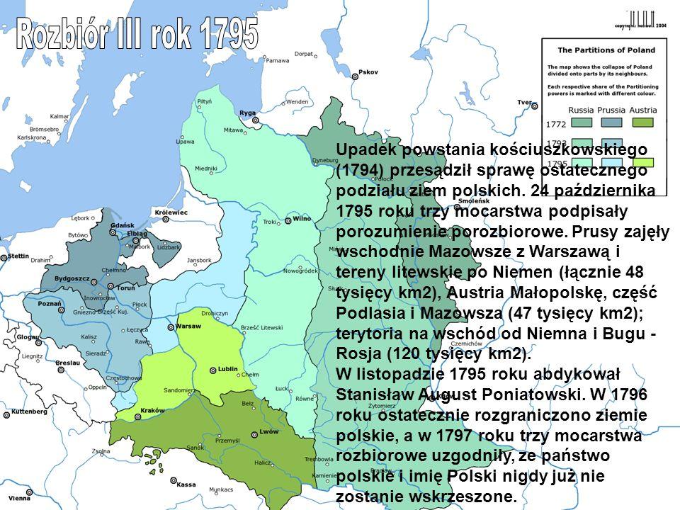 Upadek powstania kościuszkowskiego (1794) przesądził sprawę ostatecznego podziału ziem polskich. 24 października 1795 roku trzy mocarstwa podpisały po