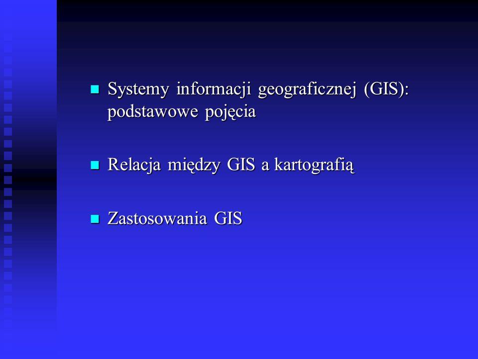 Systemy informacji geograficznej (GIS): podstawowe pojęcia Elementy GIS > Oprogramowanie System oprogramowania GIS MapInfo Corporation Przestrzenne analizy danych: - MapInfo Professional - Vertical Mapper - Aplikacja transportowa - MapBasic Prezentacja i przeglądanie map: - MapInfo ProViewer - MapInfo DISCOVERY Dla Integratorów: - MapXtreme - MapX - MapX Mobile - Spatial Vare - Komponenty programistyczne