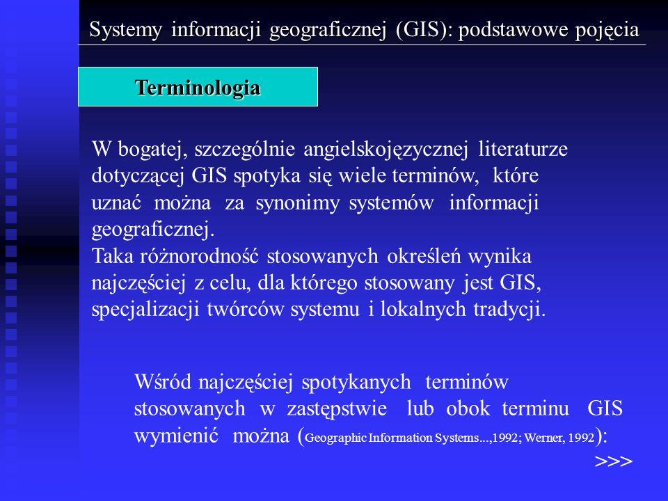 Systemy informacji geograficznej (GIS): podstawowe pojęcia Elementy GIS > Dane > Dane atrybutowe Źródła zasilania danych atrybutowych: - ręczne wprowadzanie danych za pomocą klawiatury, - arkusze kalkulacyjne, - systemy obsługi baz danych, - automatyczne czytniki i rejestratory