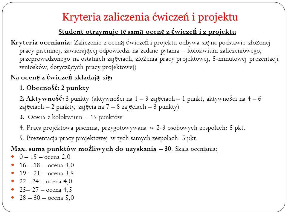 Kryteria zaliczenia ćwiczeń i projektu Metoda oceniania: Pisemna forma zaliczenia.