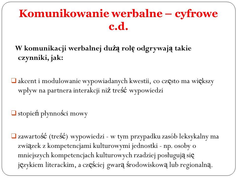 Komunikowanie werbalne – cyfrowe c.d. W komunikacji werbalnej du żą rol ę odgrywaj ą takie czynniki, jak: akcent i modulowanie wypowiadanych kwestii,