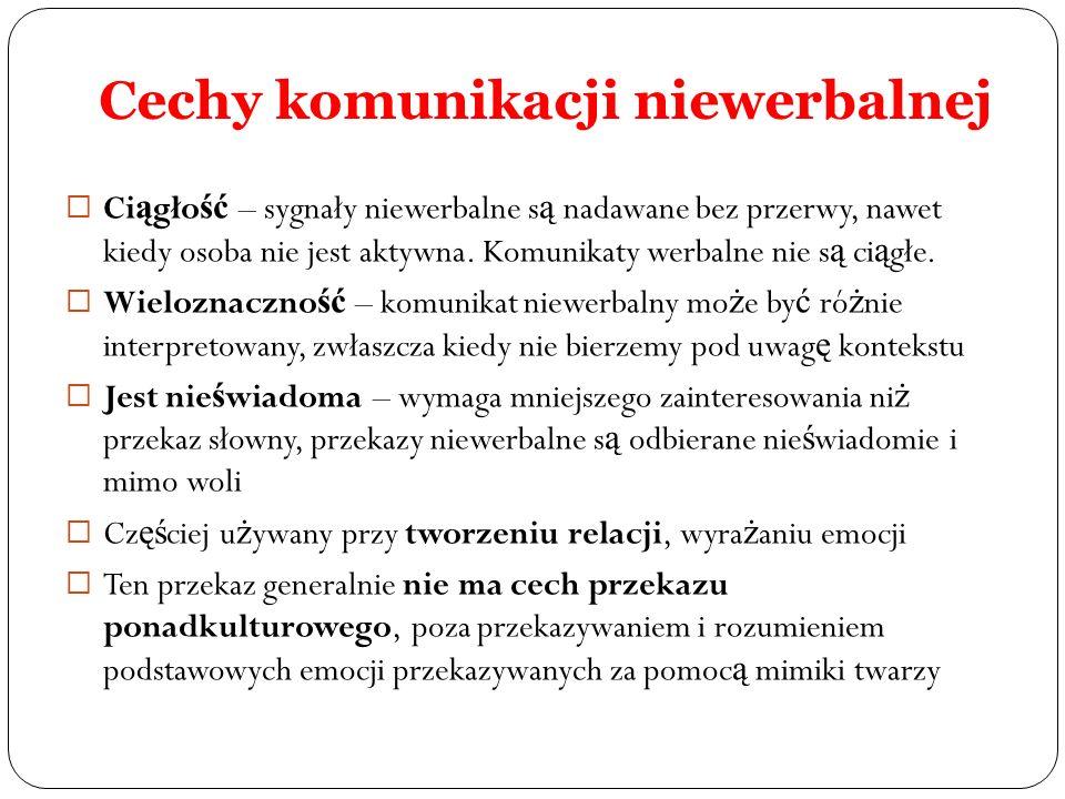 Cechy komunikacji niewerbalnej Ci ą gło ść – sygnały niewerbalne s ą nadawane bez przerwy, nawet kiedy osoba nie jest aktywna. Komunikaty werbalne nie