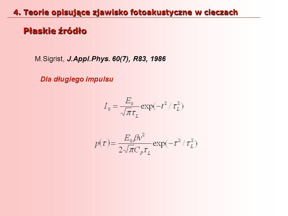 M.Sigrist, J.Appl.Phys. 60(7), R83, 1986 Dla długiego impulsu Płaskie źródło 4. Teorie opisujące zjawisko fotoakustyczne w cieczach
