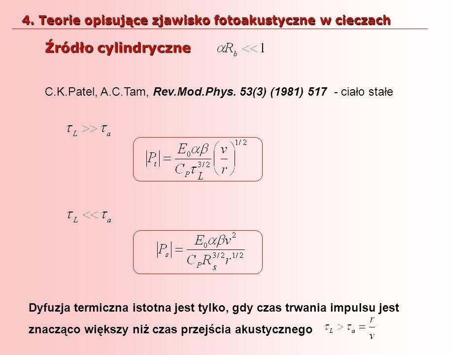 Źródło cylindryczne C.K.Patel, A.C.Tam, Rev.Mod.Phys. 53(3) (1981) 517 - ciało stałe Dyfuzja termiczna istotna jest tylko, gdy czas trwania impulsu je