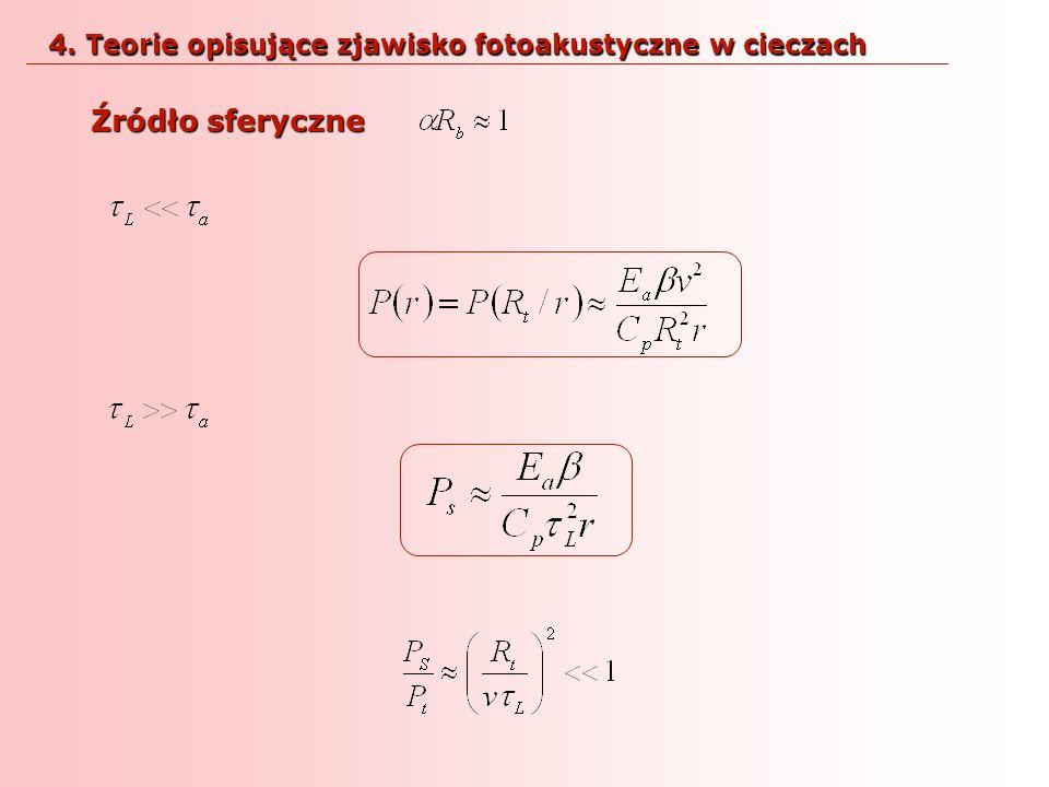 Źródło sferyczne 4. Teorie opisujące zjawisko fotoakustyczne w cieczach