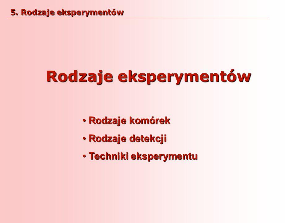 Rodzaje eksperymentów Rodzaje komórek Rodzaje komórek Rodzaje detekcji Rodzaje detekcji Techniki eksperymentu Techniki eksperymentu 5. Rodzaje ekspery