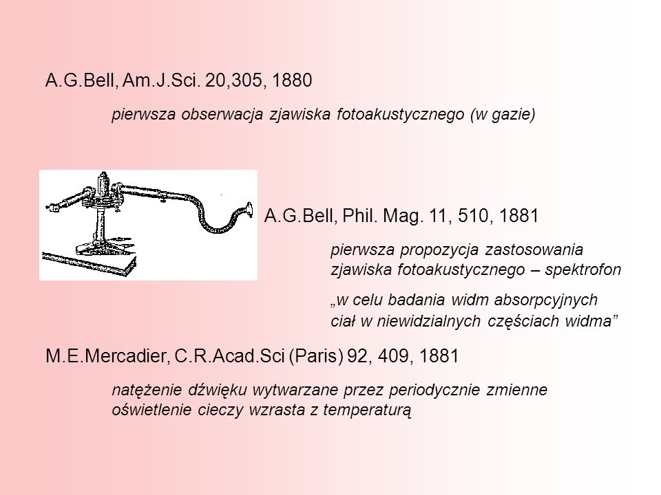 A.G.Bell, Am.J.Sci. 20,305, 1880 pierwsza obserwacja zjawiska fotoakustycznego (w gazie) M.E.Mercadier, C.R.Acad.Sci (Paris) 92, 409, 1881 natężenie d