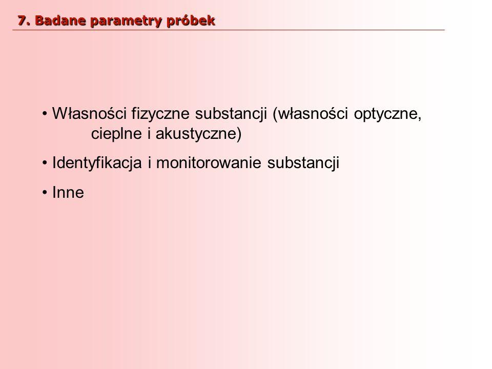 Własności fizyczne substancji (własności optyczne, cieplne i akustyczne) Identyfikacja i monitorowanie substancji Inne 7. Badane parametry próbek