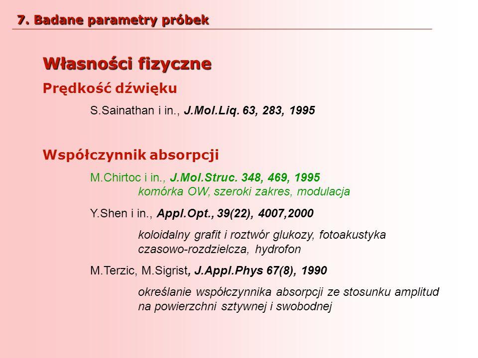 Własności fizyczne Prędkość dźwięku S.Sainathan i in., J.Mol.Liq. 63, 283, 1995 Współczynnik absorpcji M.Chirtoc i in., J.Mol.Struc. 348, 469, 1995 ko
