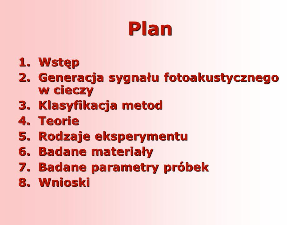 Plan 1.Wstęp 2.Generacja sygnału fotoakustycznego w cieczy 3.Klasyfikacja metod 4.Teorie 5.Rodzaje eksperymentu 6.Badane materiały 7.Badane parametry