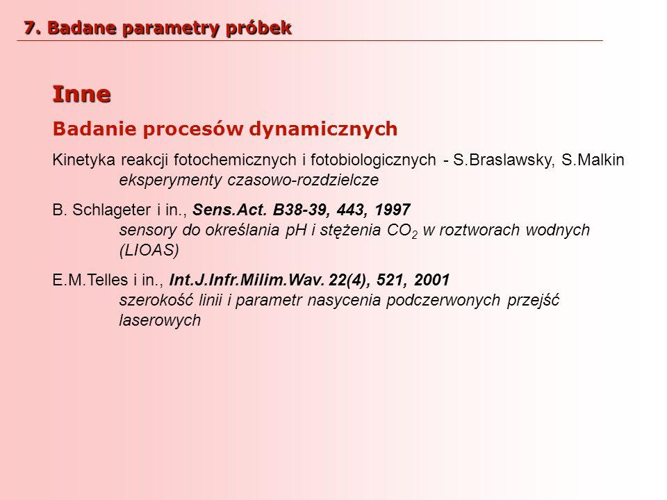 Inne Badanie procesów dynamicznych Kinetyka reakcji fotochemicznych i fotobiologicznych - S.Braslawsky, S.Malkin eksperymenty czasowo-rozdzielcze B. S