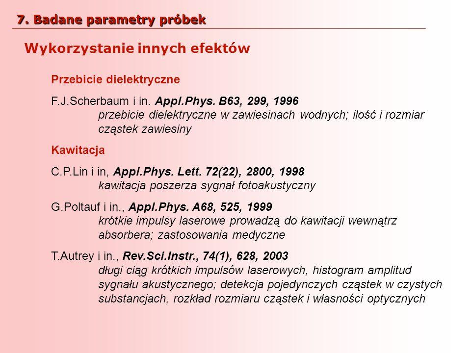 Wykorzystanie innych efektów Przebicie dielektryczne F.J.Scherbaum i in. Appl.Phys. B63, 299, 1996 przebicie dielektryczne w zawiesinach wodnych; iloś