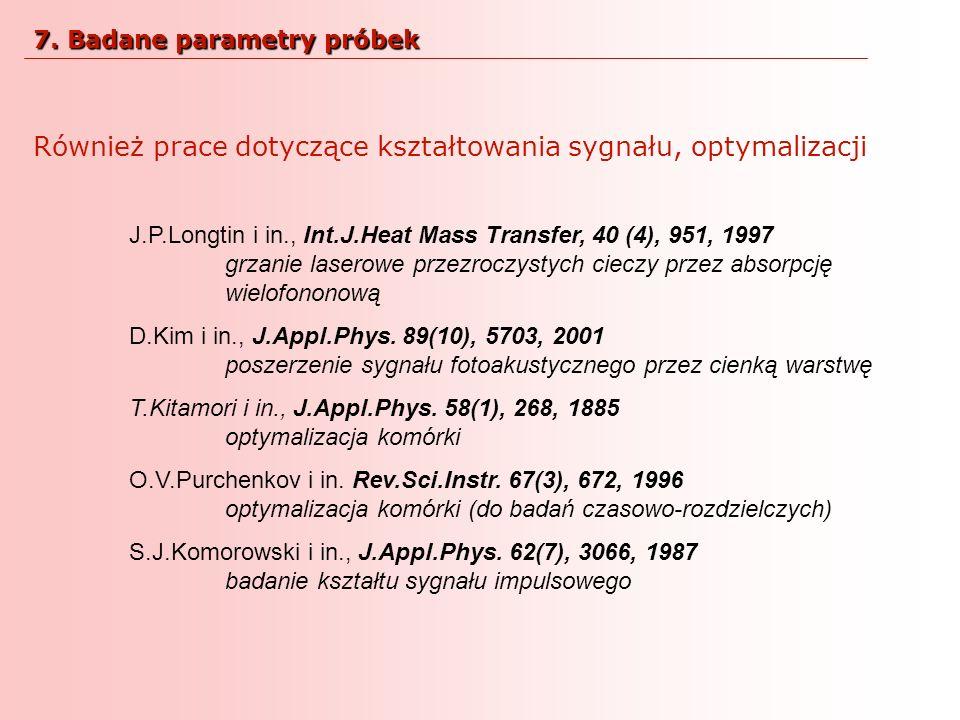 Również prace dotyczące kształtowania sygnału, optymalizacji J.P.Longtin i in., Int.J.Heat Mass Transfer, 40 (4), 951, 1997 grzanie laserowe przezrocz