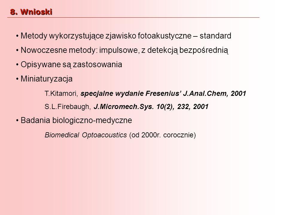 Metody wykorzystujące zjawisko fotoakustyczne – standard Nowoczesne metody: impulsowe, z detekcją bezpośrednią Opisywane są zastosowania Miniaturyzacj
