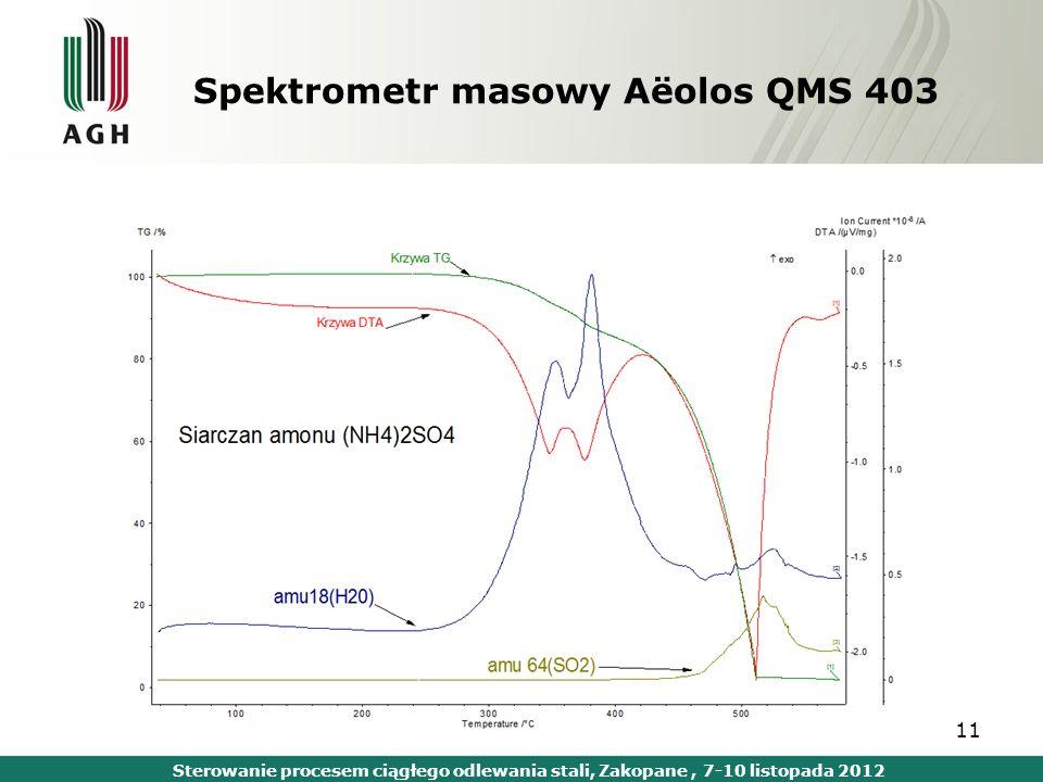 11 Spektrometr masowy Aёolos QMS 403 Sterowanie procesem ciągłego odlewania stali, Zakopane, 7-10 listopada 2012