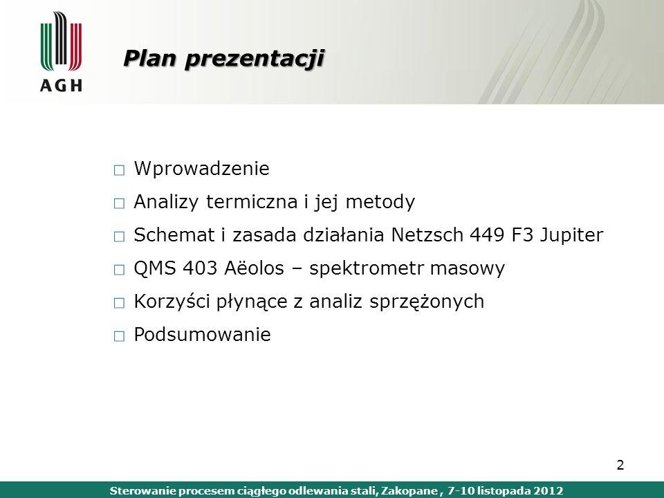 Plan prezentacji Wprowadzenie Analizy termiczna i jej metody Schemat i zasada działania Netzsch 449 F3 Jupiter QMS 403 Aëolos – spektrometr masowy Kor