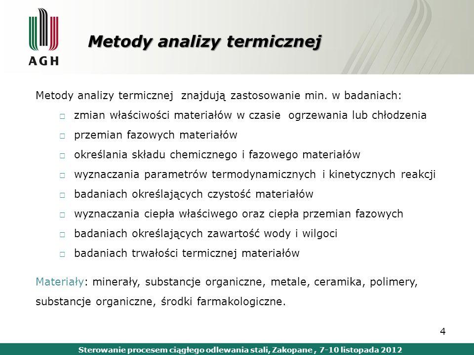 Metody analizy termicznej Metody analizy termicznej znajdują zastosowanie min. w badaniach: zmian właściwości materiałów w czasie ogrzewania lub chłod