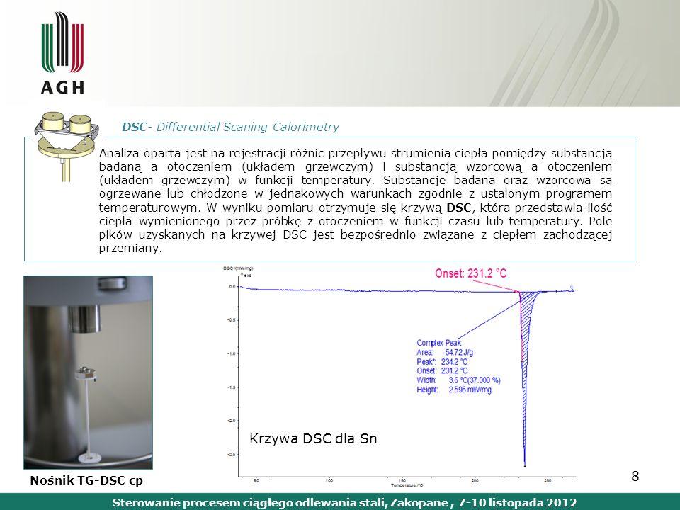 8 DSC- Differential Scaning Calorimetry Analiza oparta jest na rejestracji różnic przepływu strumienia ciepła pomiędzy substancją badaną a otoczeniem