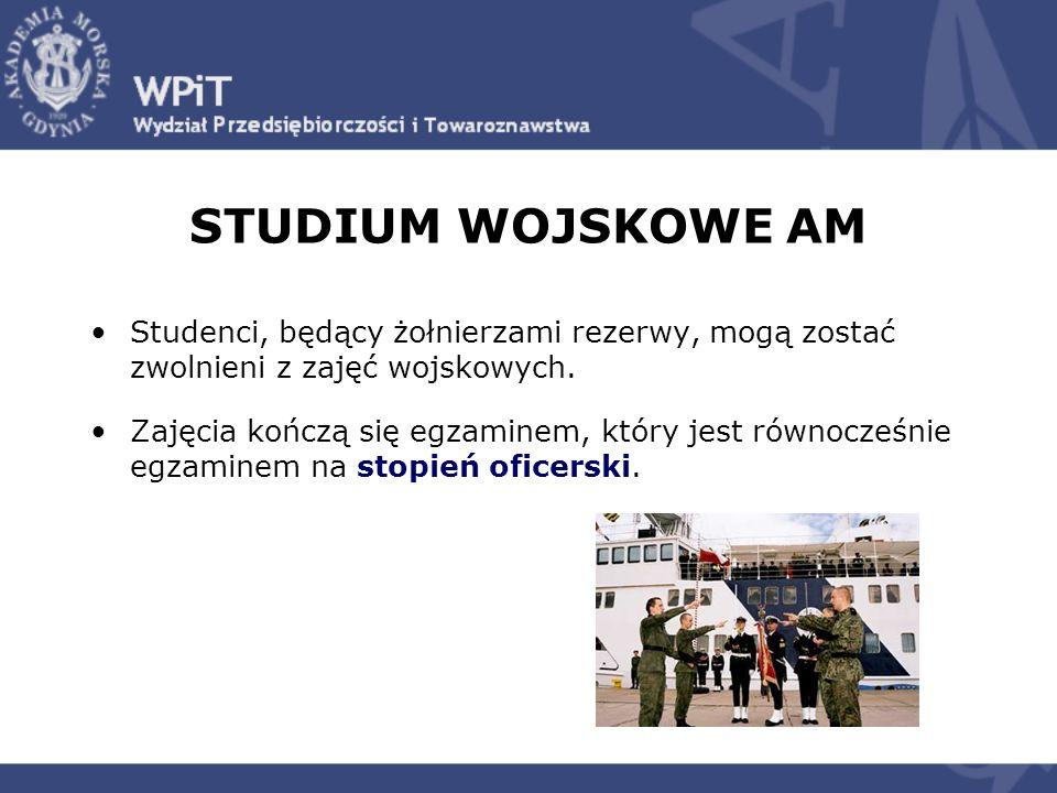 STUDIUM WOJSKOWE AM Studenci, będący żołnierzami rezerwy, mogą zostać zwolnieni z zajęć wojskowych. Zajęcia kończą się egzaminem, który jest równocześ